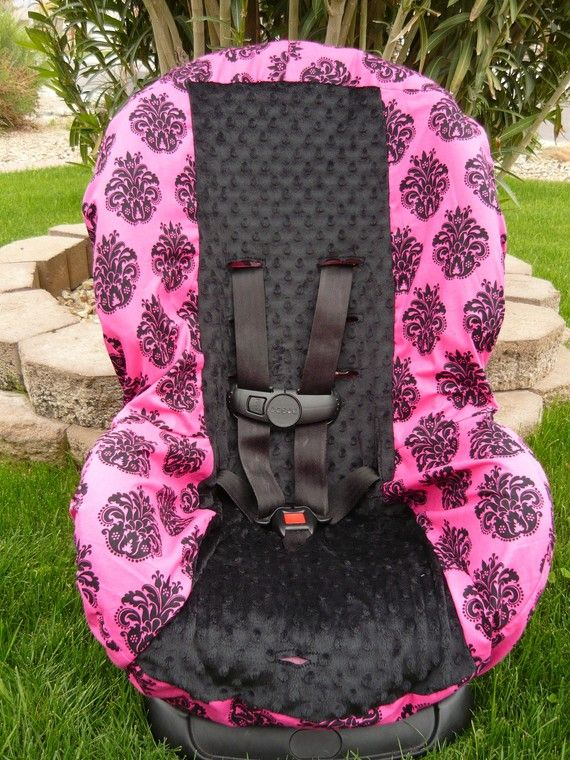 hot pink damask with swirls toddler car seat cover by sewcuteinaz 4000