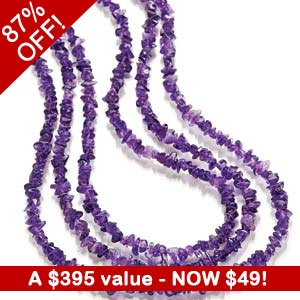 87% OFF Triptica Amethyst Necklace (350 CTW)! $395 value, get yours for ONLY $49 at http://mother-gifts.net/mother-gifts-discounts-and-promotions