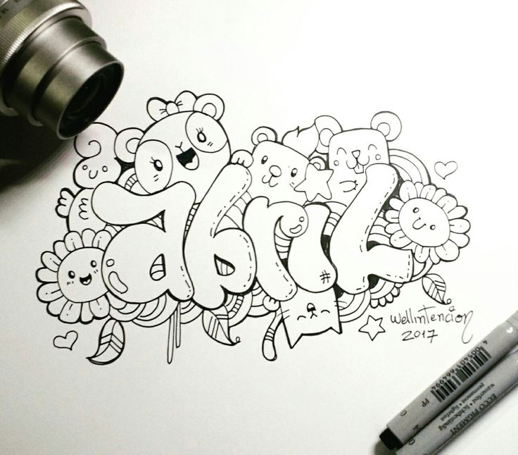 Cómo hacer tu nombre en doodle #lettering #abril #april #doodle #doodling #doodler #mandala #zentangle #panda #draw #drawing #sketch #tumblr #wellintencion #aaronwell