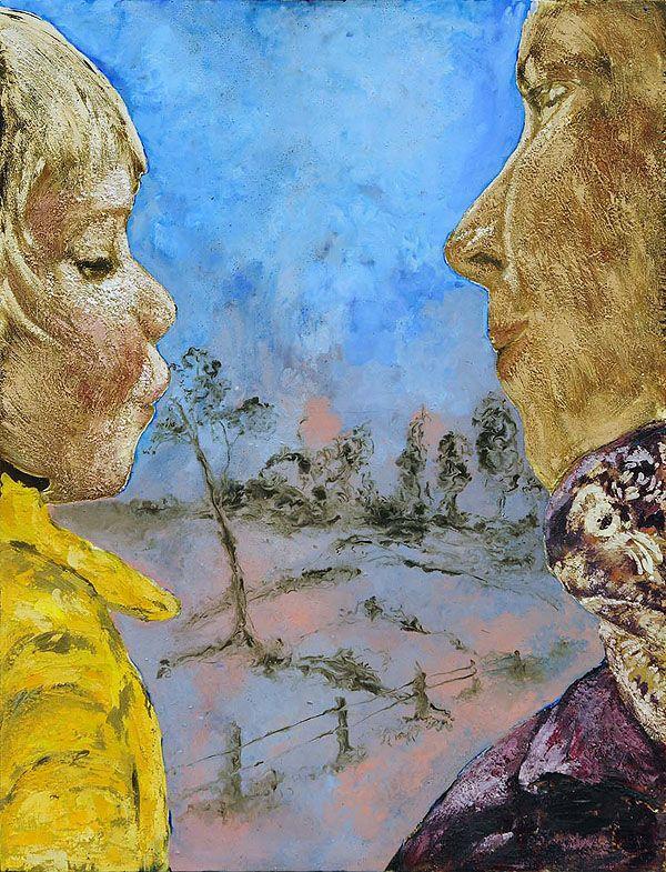 Schilderij Titel: Marieke en Teun / Techniek: encaustiek en tempera grassa
