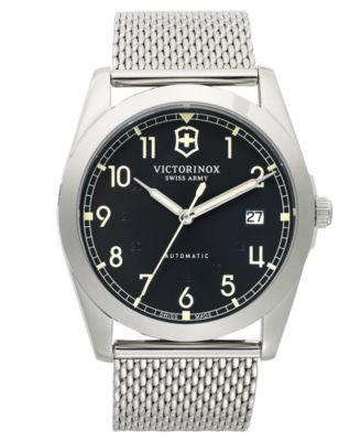 Victorinox Swiss Army Watch, Men's Infantry Stainless Steel Mesh Bracelet 40mm 241587 $600.00 Taking inspiration from aviator watches, this Infantry timepiece from Victorinox Swiss Army features tough mesh and exact precision.