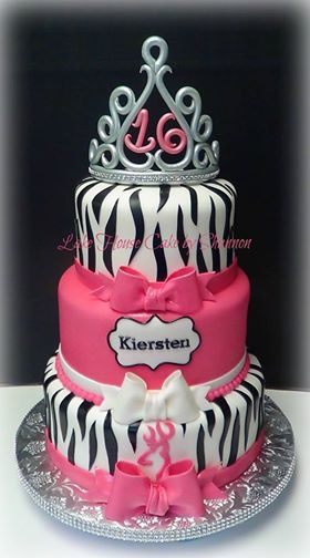 Black White Hot Pink Zebra Print Sweet Sixteen 16 Bows Tiara Crown Browning 3 tiered Rhinestone Ribbon Bling Ribbon Cake Lake House Cake by Shannon