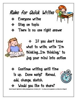 This poster makes it easy to remind students of the most important rules for Quick Writes in the classroom.  I've designed it to look  simple and c...
