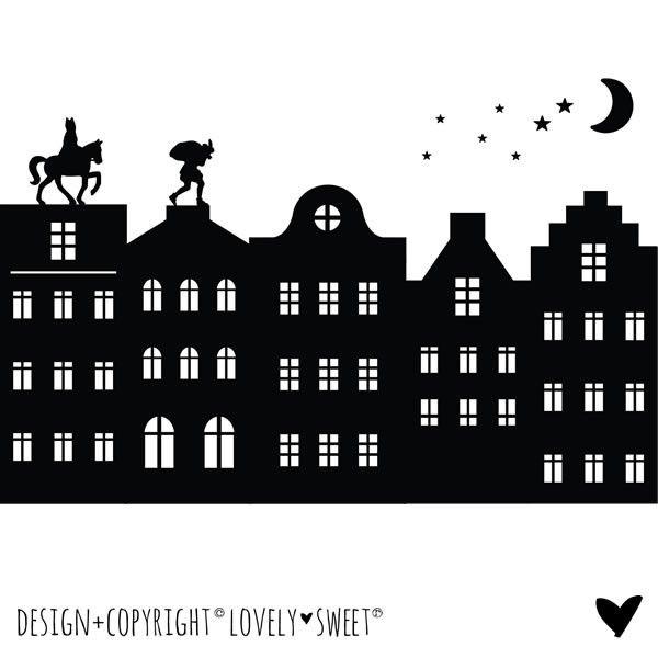 € 19,50 Raam Sticker Sinterklaas Silhouet & Grachtenhuisjes... Te koop in de Shop !