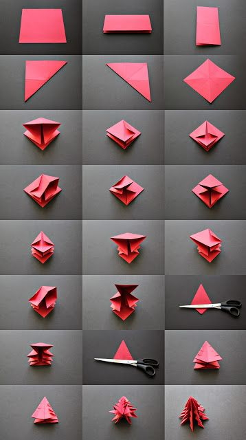 DIY Origami Christmas Trees.