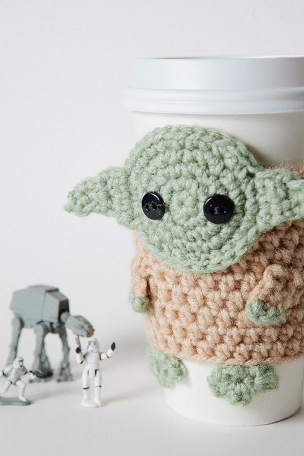Yoda coffee cozy