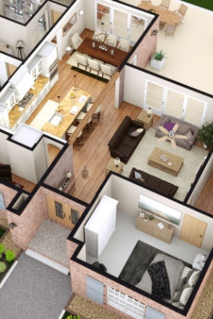 3d View Of A Single Family House With 3 Bedrooms And Garage Created By Cedreo Software For Floor Plan Floor Plan Creator Architectural Floor Plans Floor Plans