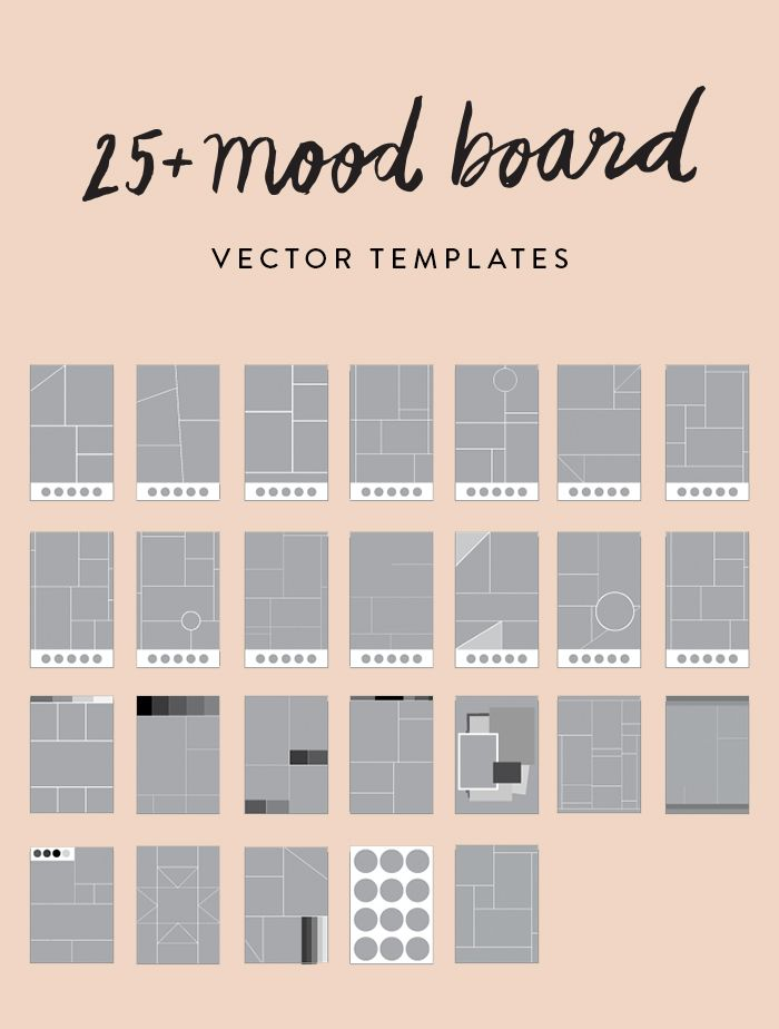 Create a beautiful mood board in minutes with my 25+ pre-made vector  templates! Easily add imagery and colors to make professional looking mood  boards for your blog, clients, or personal projects!                                                                                                                                                                                 More