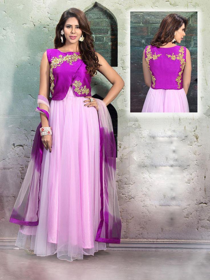 Pink Net Designer Anarkali Suit 59718