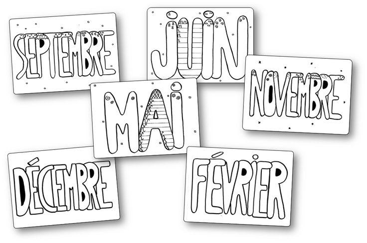 Les mois en graphisme sont des fiches sur lesquelles les enfants doivent décorer le nom d'un mois avec le motif graphique indiqué. Vous trouverez deux séries différentes
