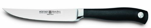 Wusthof Grand Prix II 4-1/2-Inch Steak Knife by Wusthof. $49.95. Measures approximately 9-1/2 by 1 by 1/2 inches; lifetime warranty. Ergonomic, slip-resistant, synthetic handle; made in Germany; hand wash. 4-1/2-inch steak knife with smooth, sharp blade and pointed tip. Sturdy, steel bolster; full tang for strength and balance. Precision-forged from a single piece of high-carbon, stain-resistant steel. Sizzling steak hot off the grill is even more enjoyable when effortlessly...