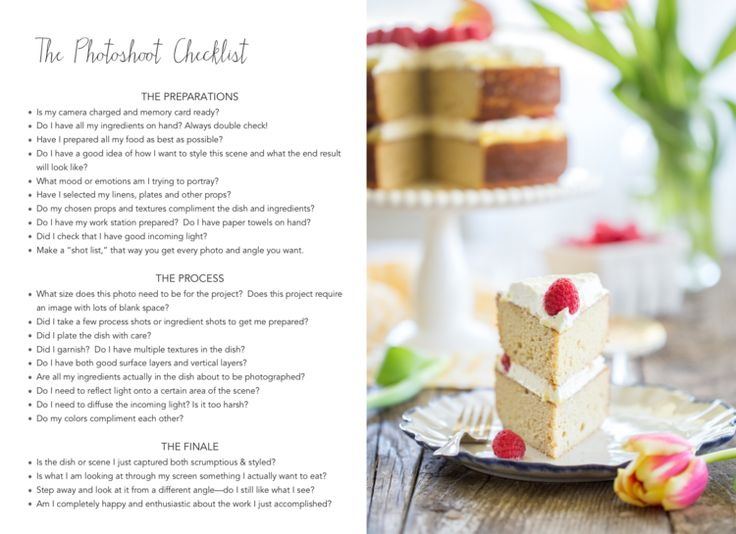 Food Photography Checklist from Scrumptious & Styled by Caroline Potter
