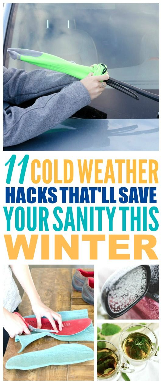 These 11 cold weather hacks are THE BEST! I'm so happy I found these AMAZING tips! Now I have some great ways to survive winter, stay warm, and get the ice off my car! Definitely pinning! #winter #coldweather #coldweatherhacks #coldweathertips