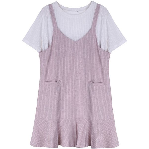 Women T-shirt And Dress Two Pieces Summer Pocket Loose Dress ($26) ❤ liked on Polyvore featuring dresses, pink, summer dresses, short sleeve dress, pink purple dress, cotton dresses and loose fitting dresses