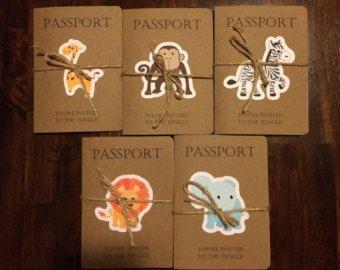 Passport to the jungle birthday invitation door KarlaBrownDesigns