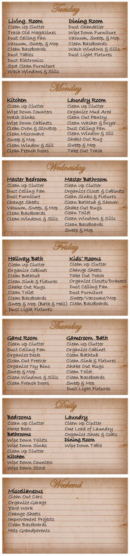 FREE printable house cleaning schedule from Blessed Messes. Download at the website.
