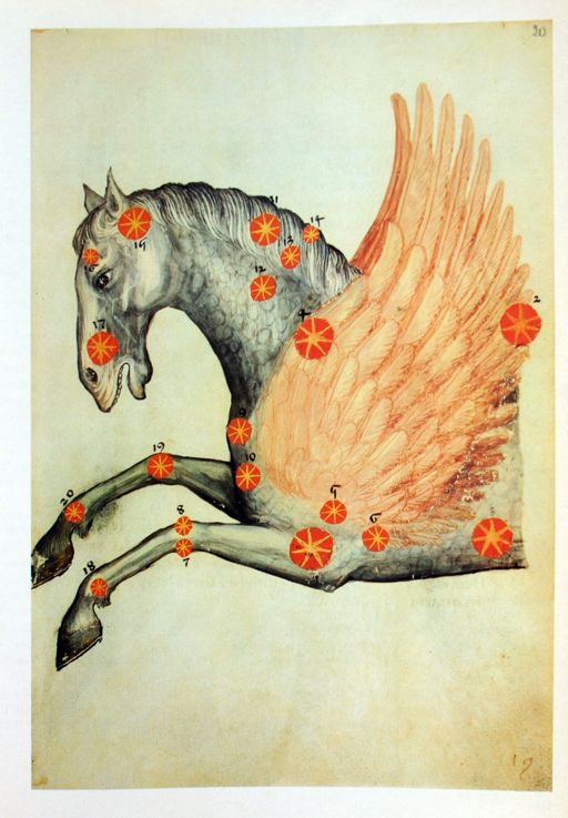 the constellation pegasus by abd ar-rahman al-sufi, from pergamenthandschrift M II 141 (an edition of al-sufi's liber locis stellarum fixarum, written in 964)    Beautiful- I probably won't find it.