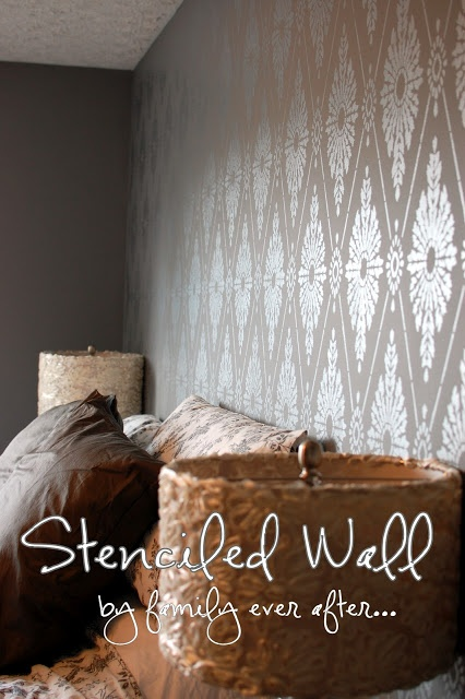 The Stencil: Diamond Damask  The paint colors: (both from Home Depot)  Main Paint- Behr Anomymous  Stencil Paint- Martha Stewart Metallic Paint in Polished Silver  Cutting Edge Stencils