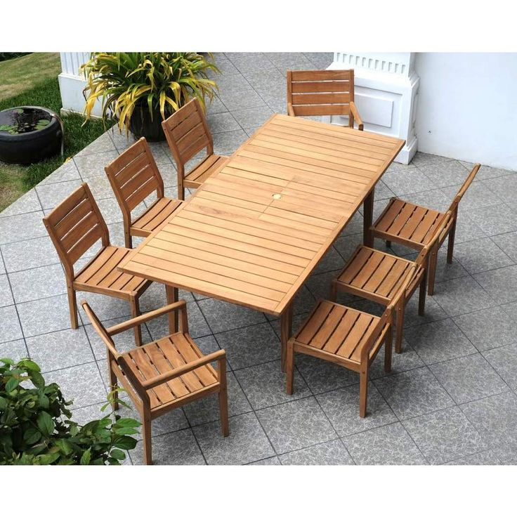 Cambridge Casual Andrea Teak 9 Piece Dining Set   Free Shipping Today    Overstock.