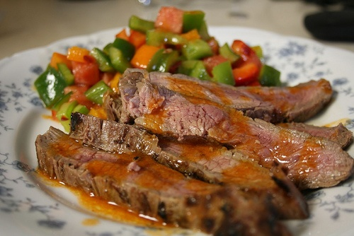 Grilled Flank Steak with Spicy Pepper and Watermelon Salad http://www ...