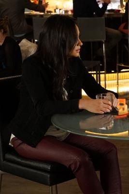 Shay Mitchell wearing Chaser Solar Planets Tank and Haute Hippie Low-Rise Leather Skinny Pants