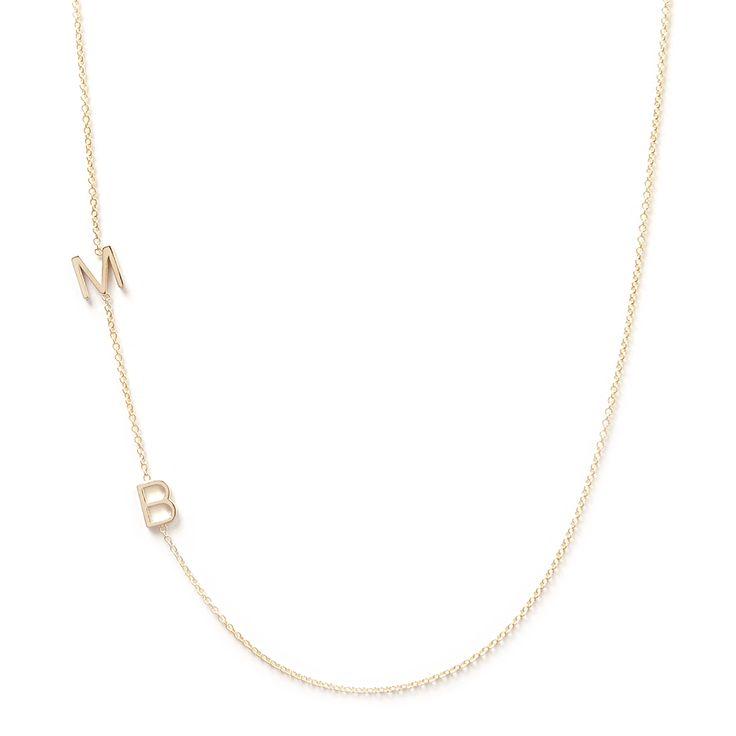 Maya Brenner 14K Gold Asymmetrical Initial Necklace