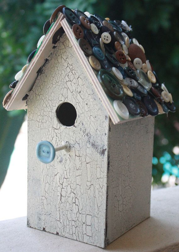 Love this idea! I have my Grandma's button box I could use! Cheap little bird house and decorate <3