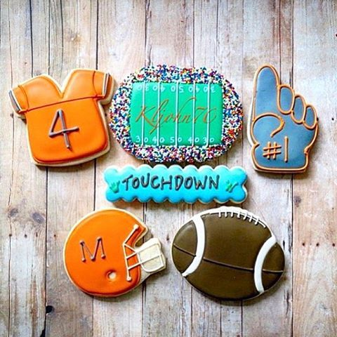 Who else is excited for football season? @kljohn70 used our football cookie cutters for this cute sports themed project