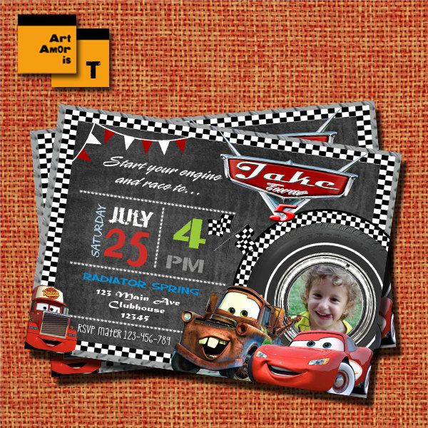 cars invitation, disney cars Invitation, lightning mcqueen birthday invitation, Mcqueen birthday Invitation, radiator spring, cars /T11 by ArtAmoris on Etsy