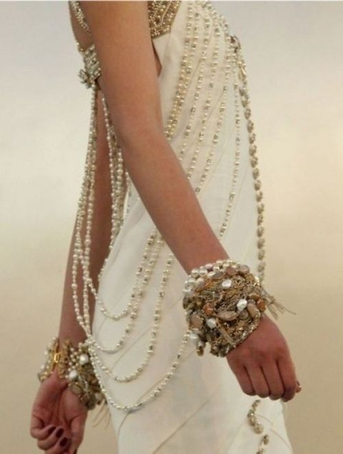 Amazing Gowns. Love the drape of the pearls!  women's fashion and style.  gowns.  bridal.  wedding.  formal