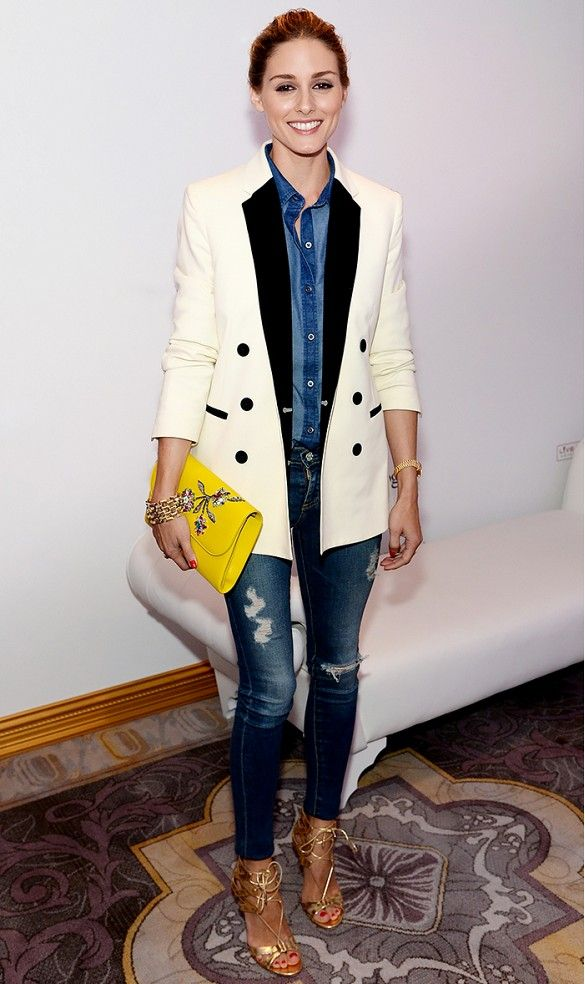 Olivia Palermo in a black and white tux jacket and ripped skinny jeans