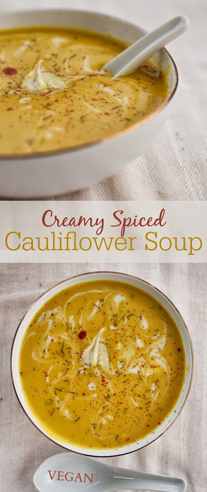 Cauliflower soup. It's Soup Season. Clean Eating. Vegan Soup