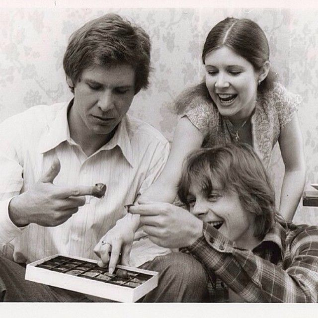 A photo from Carrie Fisher's collection taken during the filming of Star Wars.