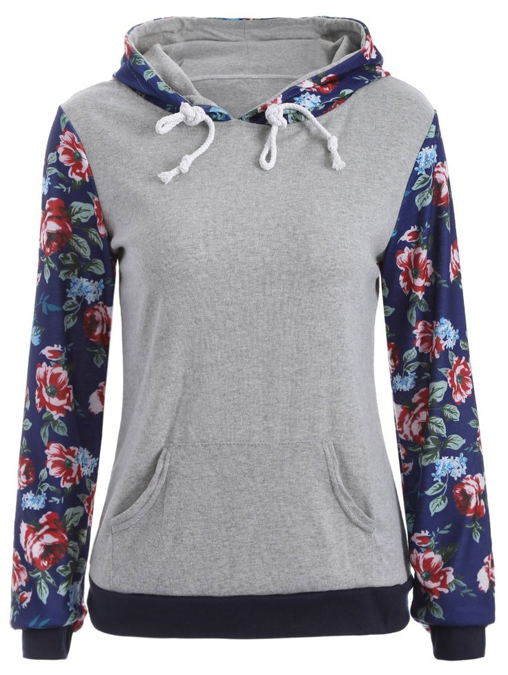 Pocket Floral Hoodie #CLICK! #clothing, #shoes, #jewelry, #women, #men, #hats, #watches