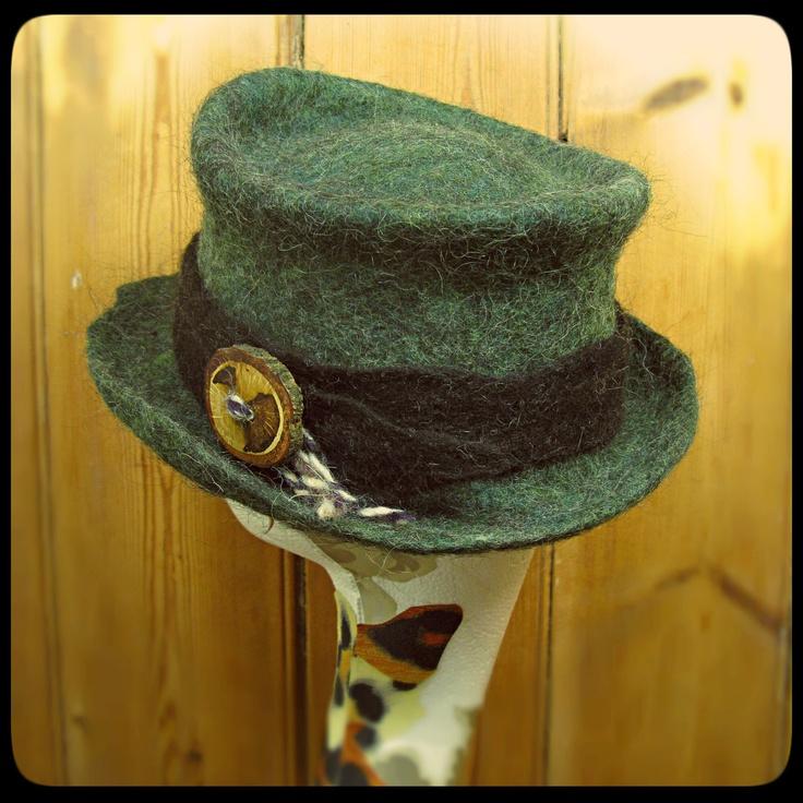 READY to SHIP - Hand felted Green wool hat 'Oaken Grove' round felt hat - black shetland band - tree wood button - ARtWeAR Handmade OOAK. £65.00, via Etsy.