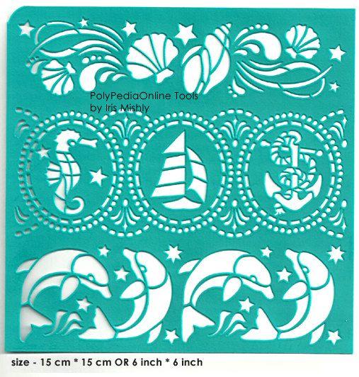 Stencil plantillas patrón pescado océano plantilla de la