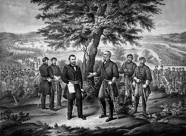 "This vintage Civil War Print shows the meeting of Generals Robert E. Lee and Ulysses S. Grant, planning the official surrender of Lee's Confederate Army. It reads, ""Meeting of Generals Grant and Lee preparatory to The Surrender Of General Lee and his entire army to Lieut. General U.S. Grant, April 9th 1865. This memorable event terminated the great rebellion."""