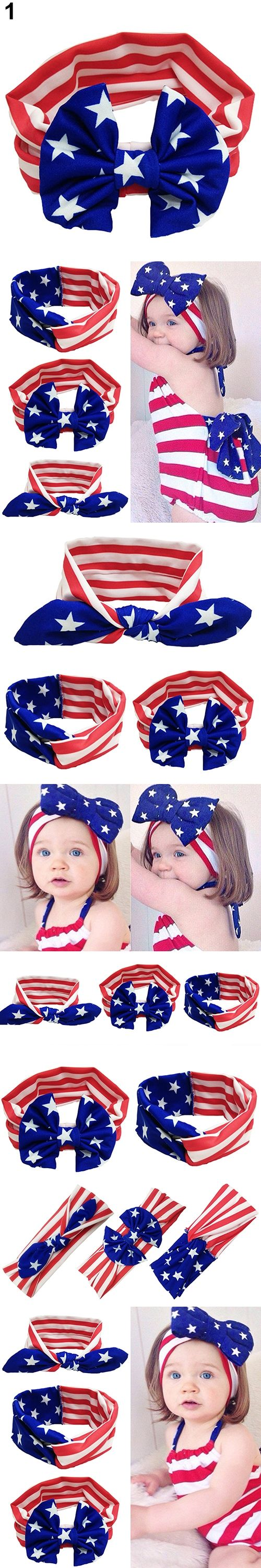 2016 New  American Flag Pattern Rabbit Ears Bowknot Cross Elastic Headband