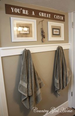 Great idea for that boring wall in every bathroom across from the mirror/sink