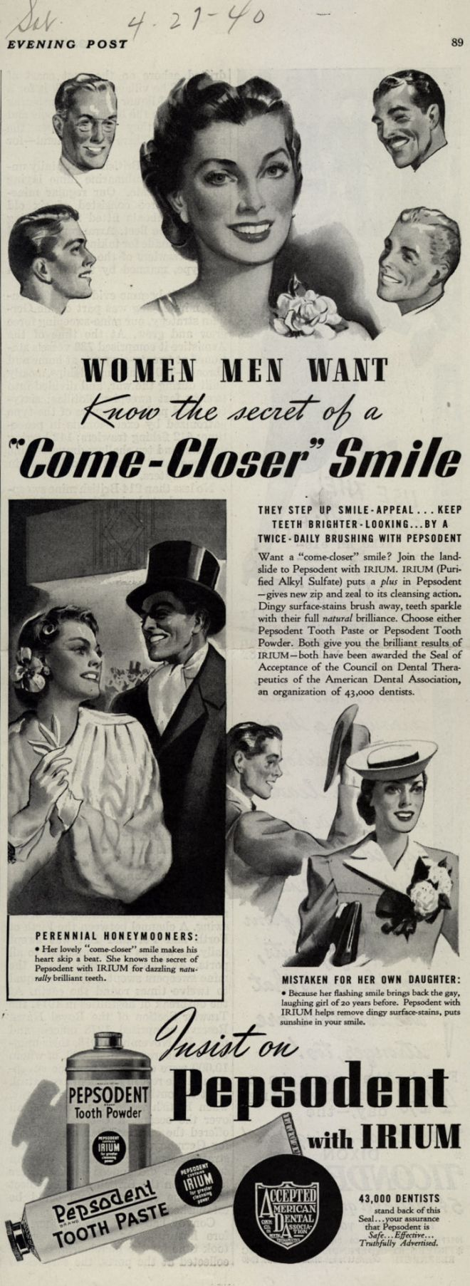 Vintage clothes fashion ads of the 1940s page 22 - Ladies Your Come Closer Smile Will Make His Heart Skip A Beat And 1950s Adsretro