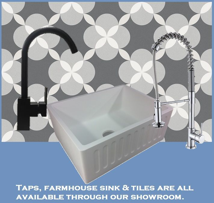 Patterned tiles, farmhouse basin and taps all available through our showroom.