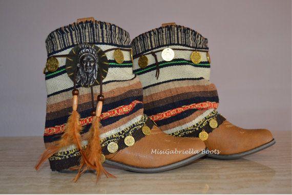 BROWN BOOTS COWBOY Boots Women Boots Morocan por MISIGABRIELLA, €85.00