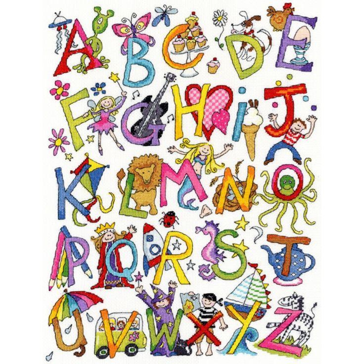 Free Cross Stitch Backstitch Alphabet | Alphabet Fun Sampler - Cross stitch Kit