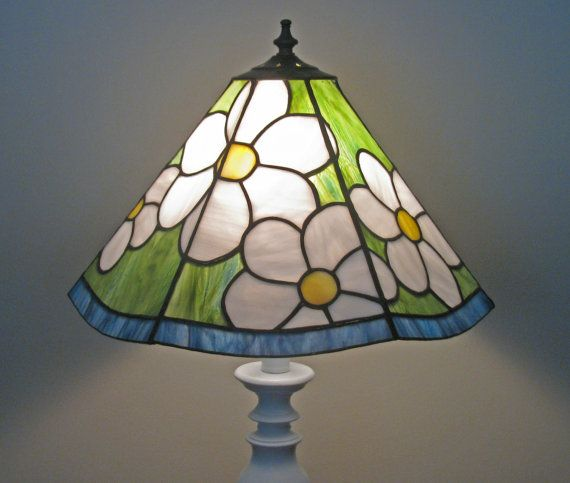 items similar to field of daisies stained glass lampshade on etsy