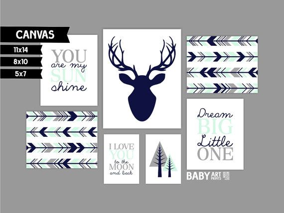Mint Navy Grey Boy Nursery canvas art prints Set by babyartprints