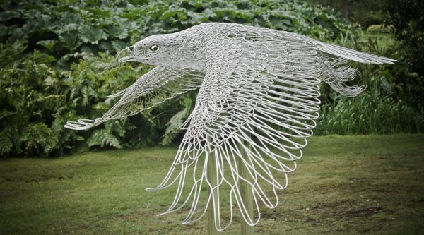 Stainless Steel #sculpture by #sculptor Martin Debenham titled: 'Golden Eagle (Big stainless Steel Flying statues)'. #MartinDebenham