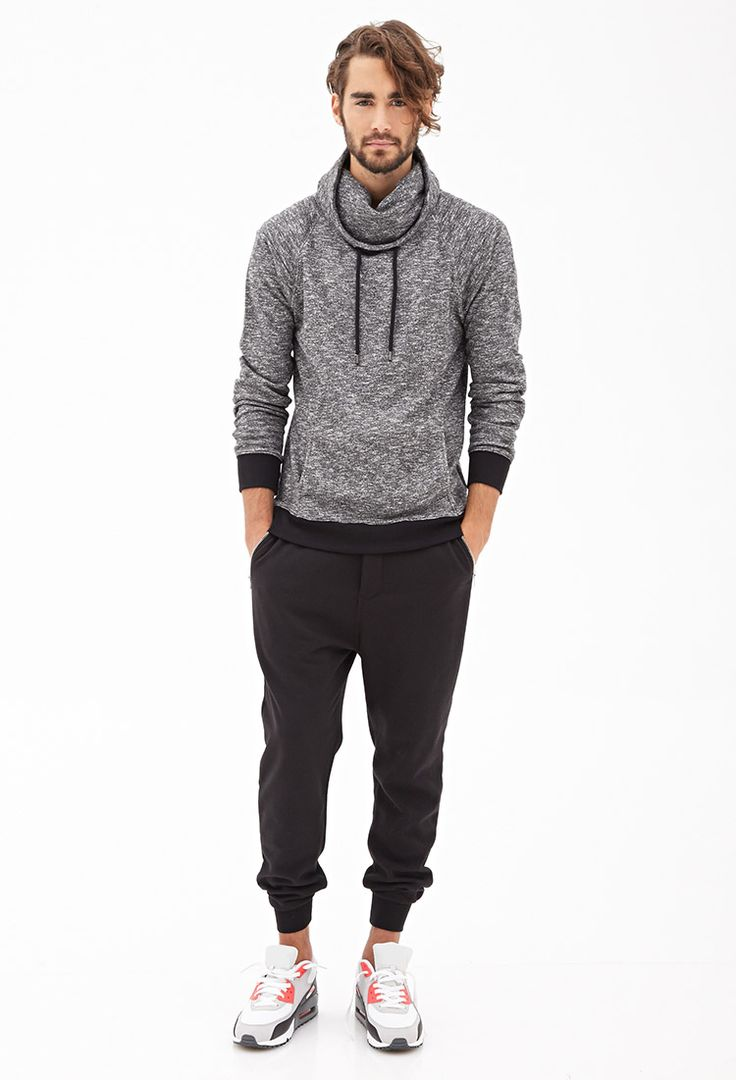 Nice sporty style with Marled Funnel-Neck Pullover