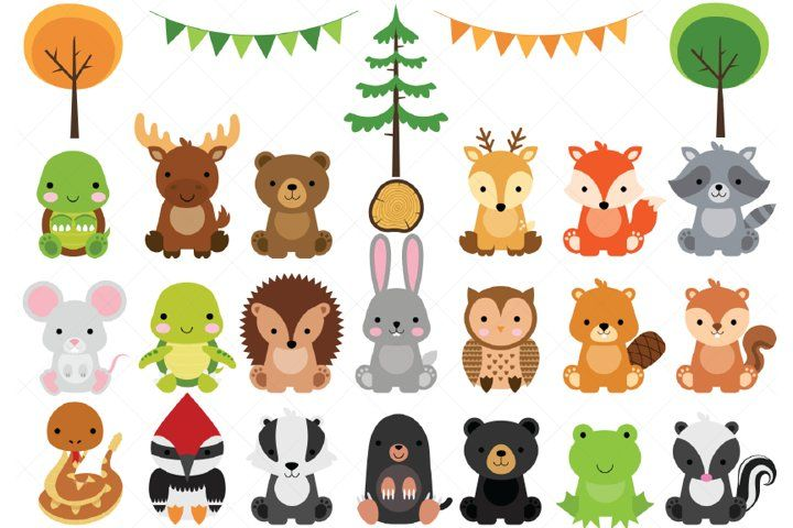 Woodland Baby Animals Clipart Forest Animal Clipart 382402 Illustrations Design Bundles In 2021 Animal Clipart Woodland Clipart Baby Animal Invitations