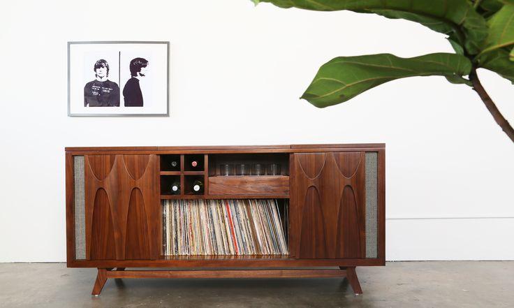 Mid-Century Modern Vinyl and Whiskey Cabinet