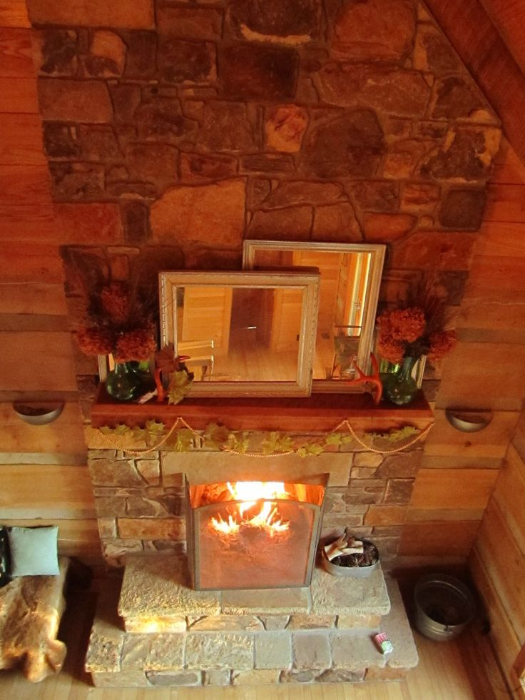 Beautiful stone fireplace with solid cherry mantel and poplar logs mantel and logs from http - Solid stone fireplace mantels with nice appearance ...